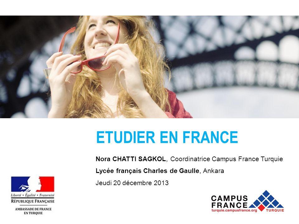 ETUDIER EN FRANCE Nora CHATTI SAGKOL, Coordinatrice Campus France Turquie Lycée français Charles de Gaulle, Ankara Jeudi 20 décembre 2013