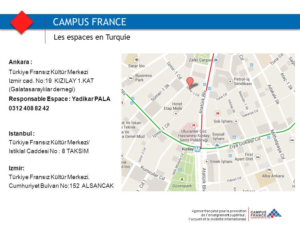 Agence française pour la promotion de lenseignement supérieur, laccueil et la mobilité internationale CAMPUS FRANCE Les espaces en Turquie Ankara : Tü
