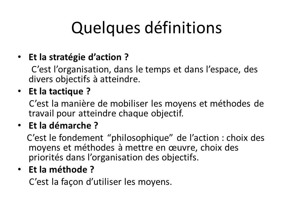 Quelques définitions Et la stratégie daction ? Cest lorganisation, dans le temps et dans lespace, des divers objectifs à atteindre. Et la tactique ? C