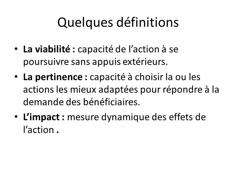 Quelques définitions La viabilité : capacité de laction à se poursuivre sans appuis extérieurs. La pertinence : capacité à choisir la ou les actions l