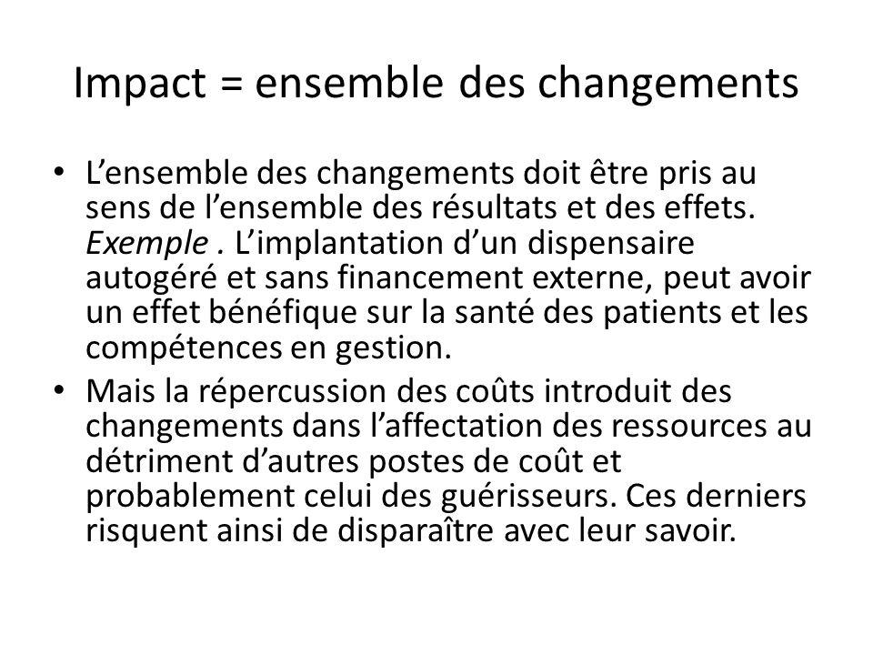 Impact = ensemble des changements Lensemble des changements doit être pris au sens de lensemble des résultats et des effets. Exemple. Limplantation du