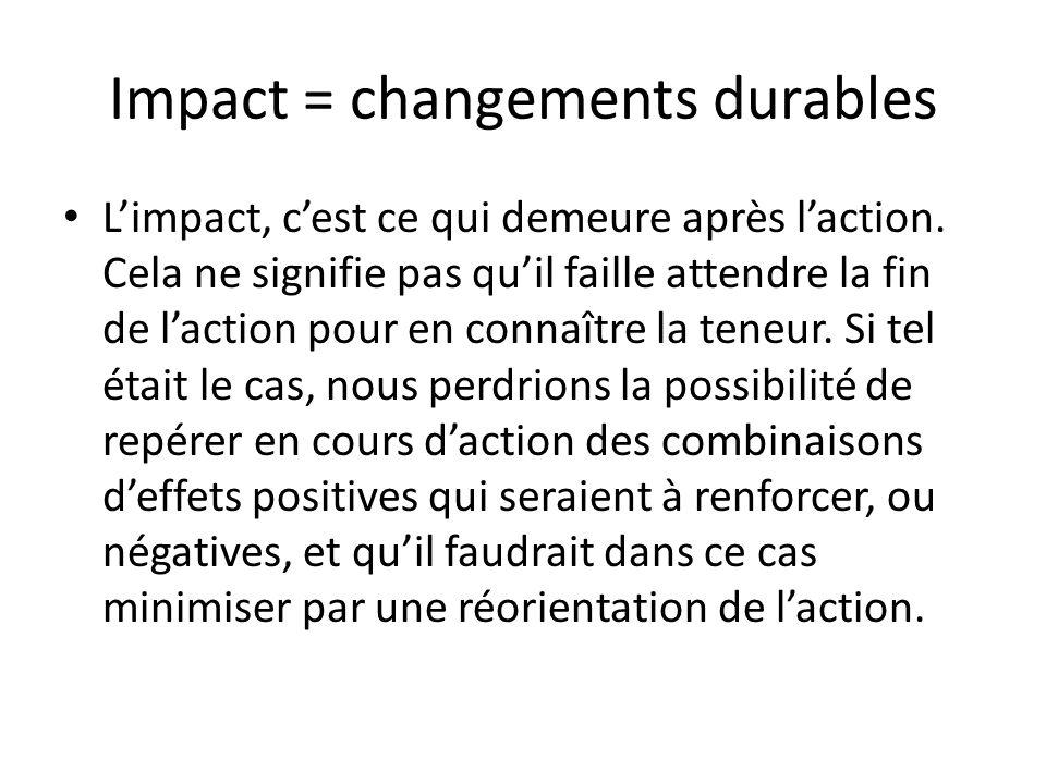 Impact = changements durables Limpact, cest ce qui demeure après laction. Cela ne signifie pas quil faille attendre la fin de laction pour en connaîtr