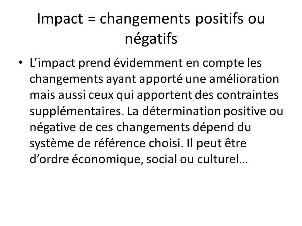Impact = changements positifs ou négatifs Limpact prend évidemment en compte les changements ayant apporté une amélioration mais aussi ceux qui apport