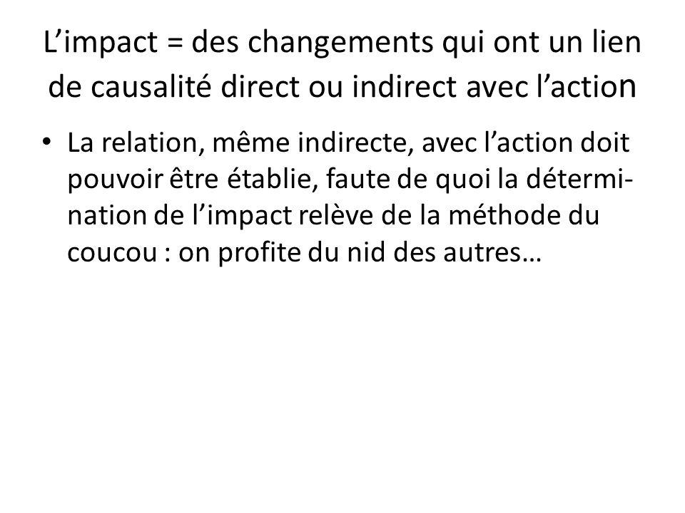 Limpact = des changements qui ont un lien de causalité direct ou indirect avec lactio n La relation, même indirecte, avec laction doit pouvoir être ét
