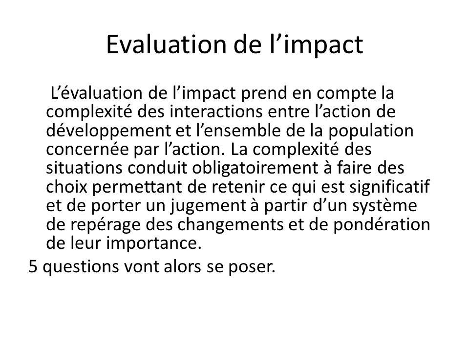 Evaluation de limpact Lévaluation de limpact prend en compte la complexité des interactions entre laction de développement et lensemble de la populati