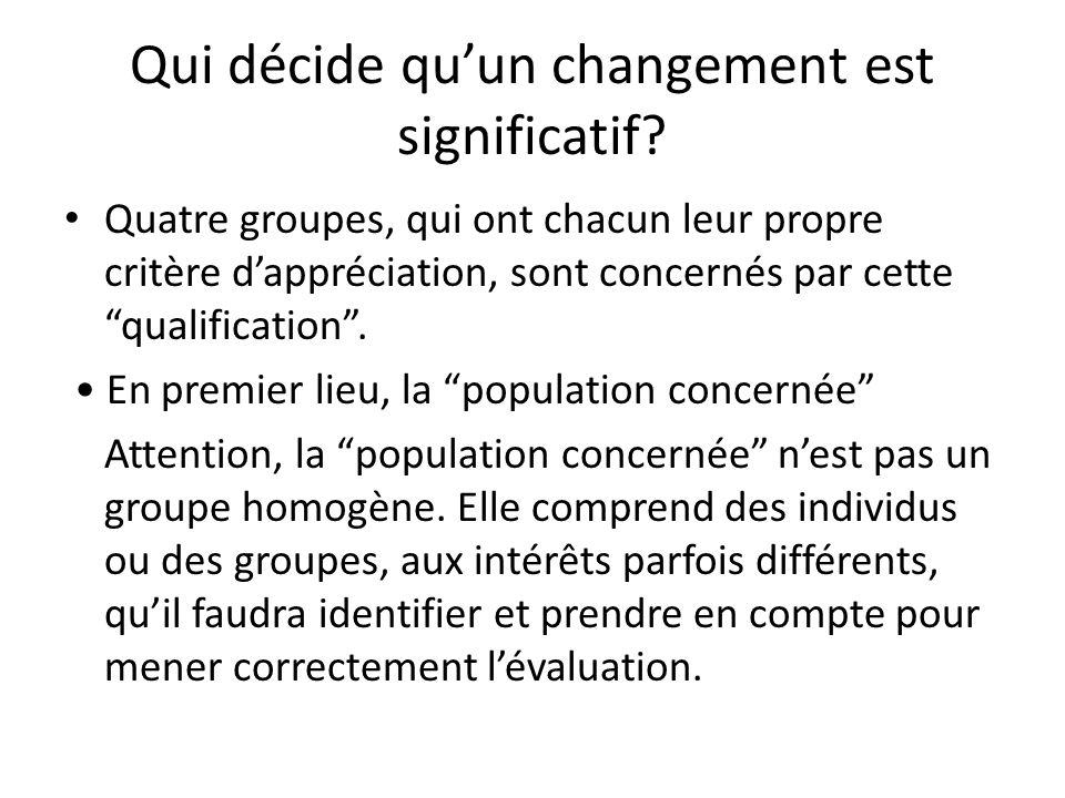 Qui décide quun changement est significatif? Quatre groupes, qui ont chacun leur propre critère dappréciation, sont concernés par cette qualification.