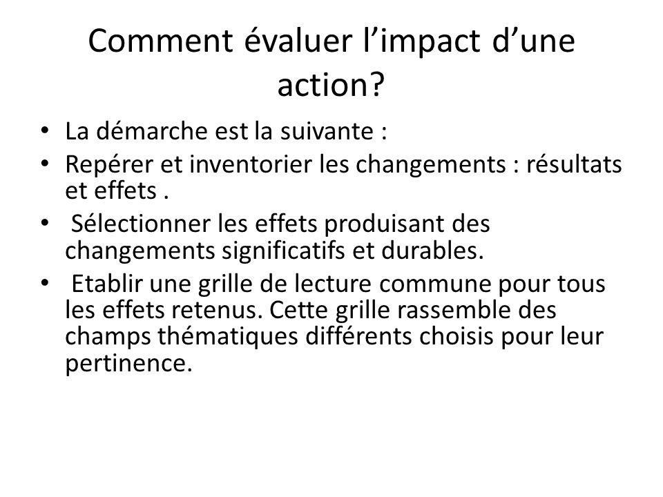 Comment évaluer limpact dune action? La démarche est la suivante : Repérer et inventorier les changements : résultats et effets. Sélectionner les effe