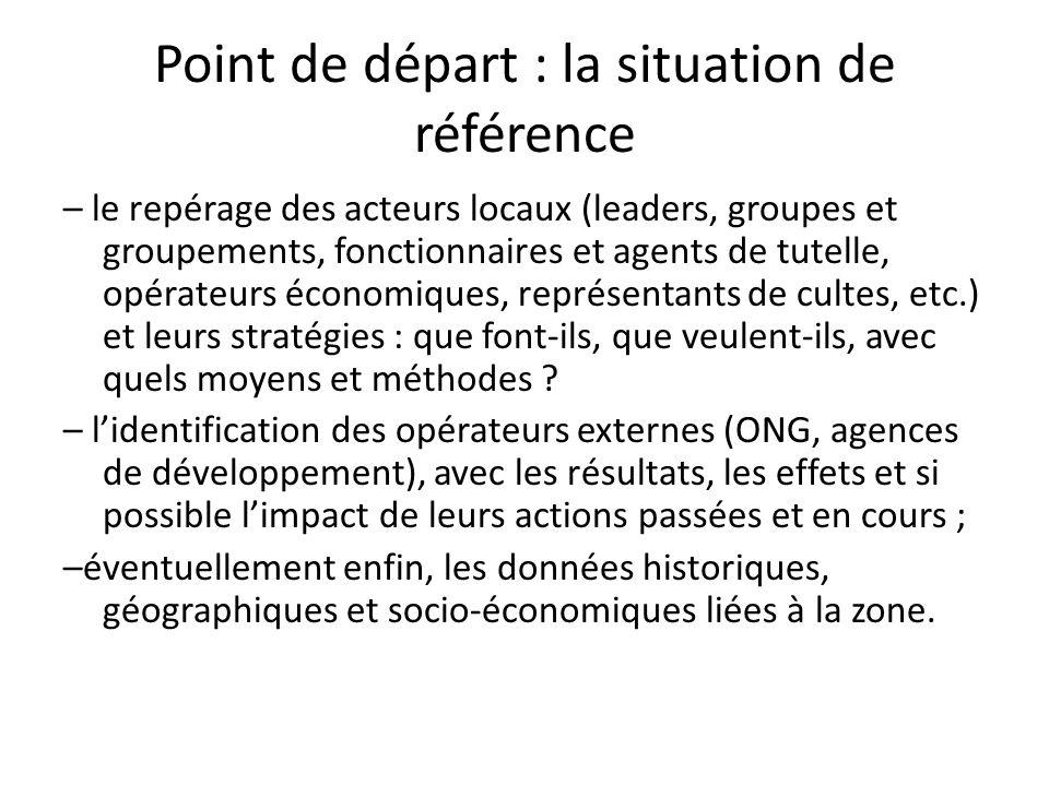 Point de départ : la situation de référence – le repérage des acteurs locaux (leaders, groupes et groupements, fonctionnaires et agents de tutelle, op