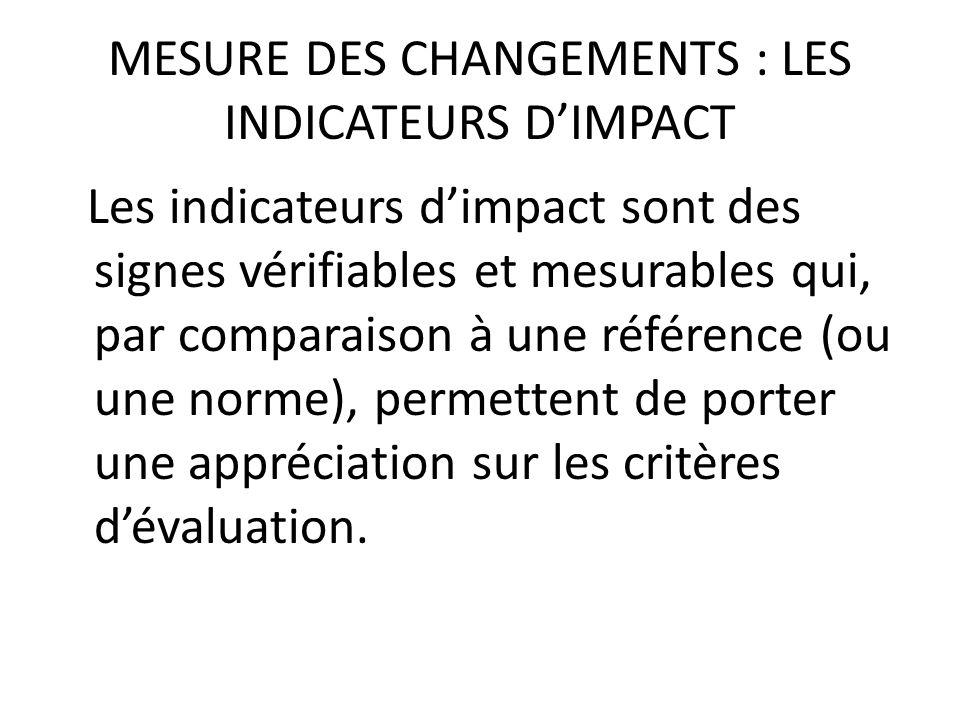 MESURE DES CHANGEMENTS : LES INDICATEURS DIMPACT Les indicateurs dimpact sont des signes vérifiables et mesurables qui, par comparaison à une référenc