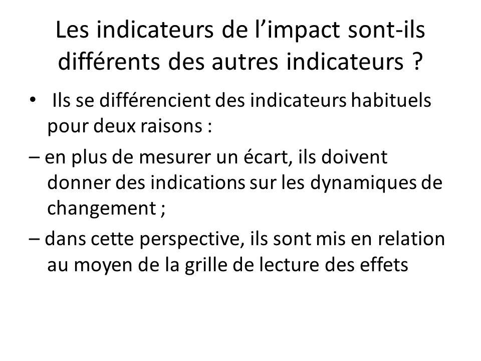 Les indicateurs de limpact sont-ils différents des autres indicateurs ? Ils se différencient des indicateurs habituels pour deux raisons : – en plus d