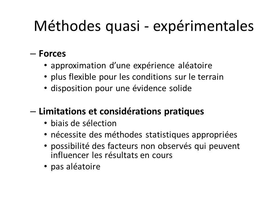 Méthodes quasi - expérimentales – Forces approximation dune expérience aléatoire plus flexible pour les conditions sur le terrain disposition pour une