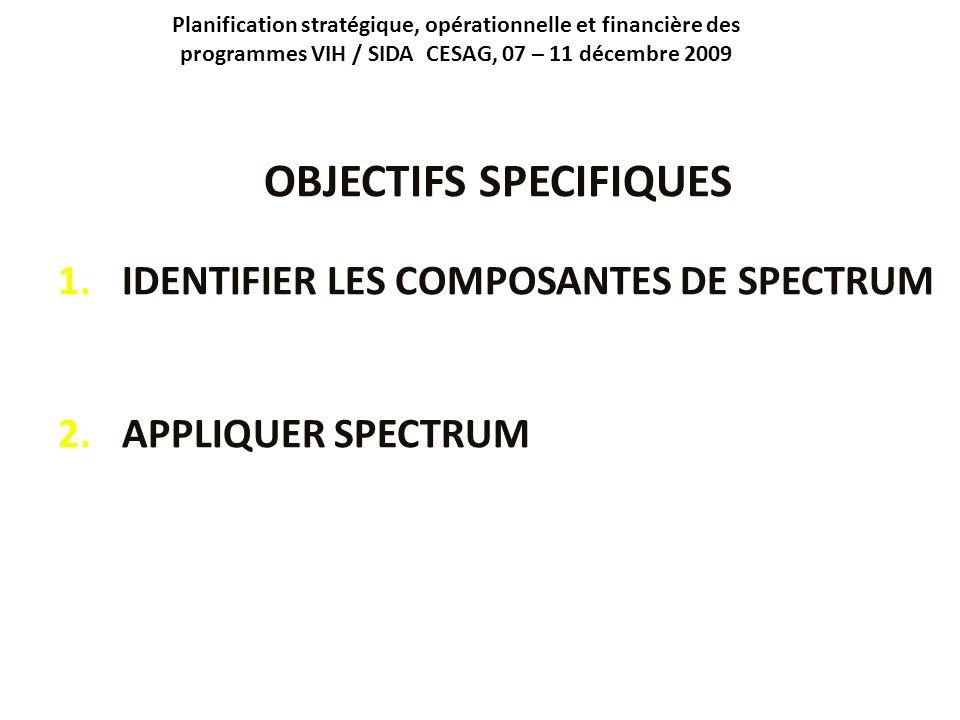 Planification stratégique, opérationnelle et financière des programmes VIH / SIDA CESAG, 07 – 11 décembre 2009 OBJECTIFS SPECIFIQUES 1.IDENTIFIER LES