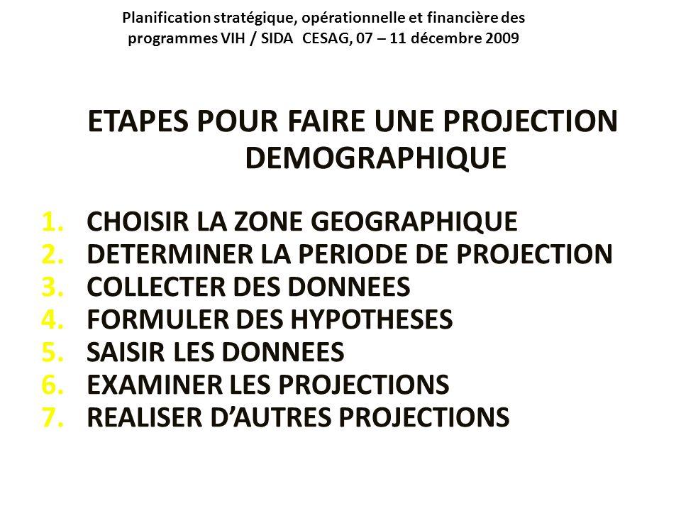Planification stratégique, opérationnelle et financière des programmes VIH / SIDA CESAG, 07 – 11 décembre 2009 ETAPES POUR FAIRE UNE PROJECTION DEMOGR