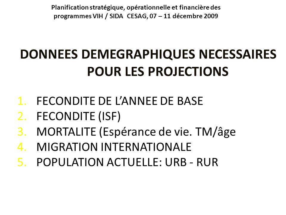 Planification stratégique, opérationnelle et financière des programmes VIH / SIDA CESAG, 07 – 11 décembre 2009 DONNEES DEMEGRAPHIQUES NECESSAIRES POUR