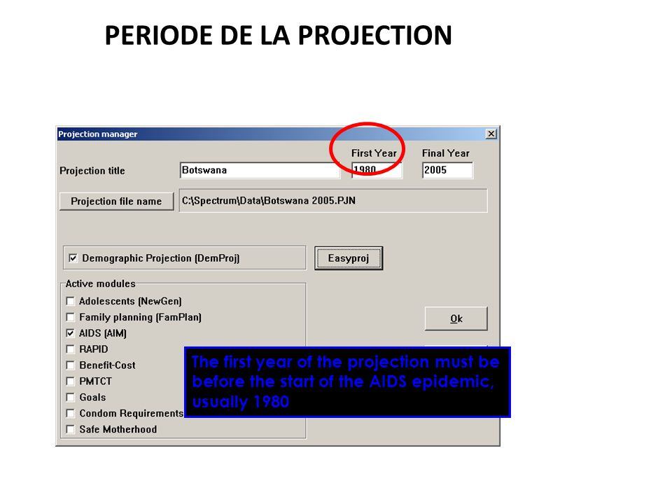 PERIODE DE LA PROJECTION The first year of the projection must be before the start of the AIDS epidemic, usually 1980