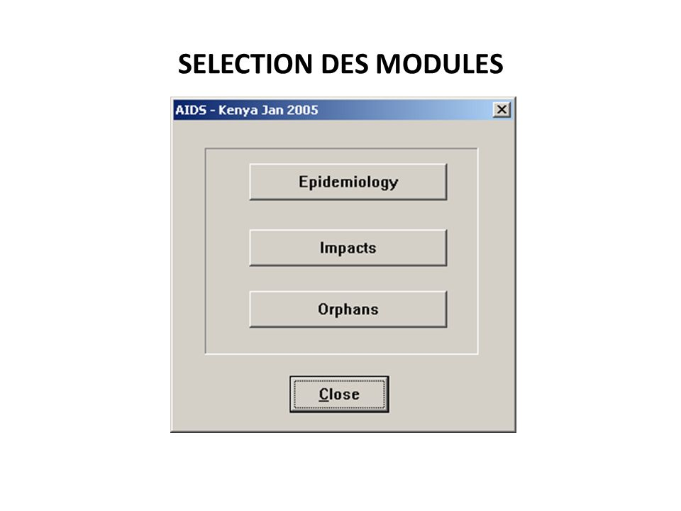 SELECTION DES MODULES