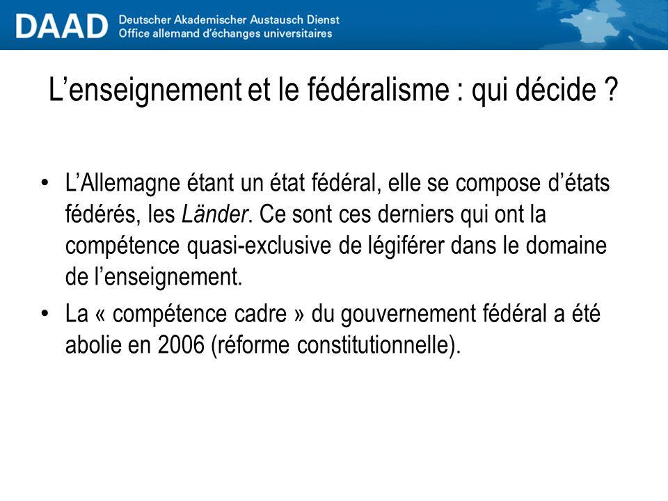Lenseignement et le fédéralisme : qui décide .