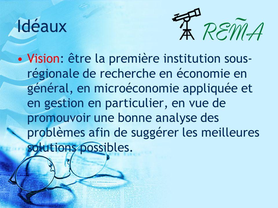 Idéaux Vision: être la première institution sous- régionale de recherche en économie en général, en microéconomie appliquée et en gestion en particulier, en vue de promouvoir une bonne analyse des problèmes afin de suggérer les meilleures solutions possibles.