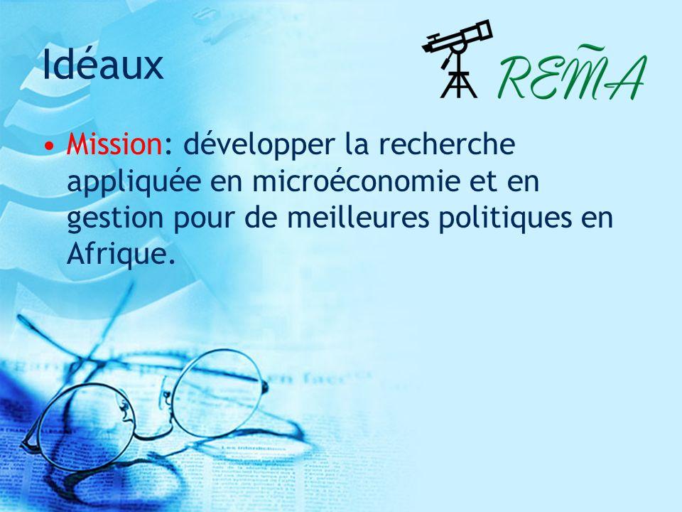 Idéaux Mission: développer la recherche appliquée en microéconomie et en gestion pour de meilleures politiques en Afrique.