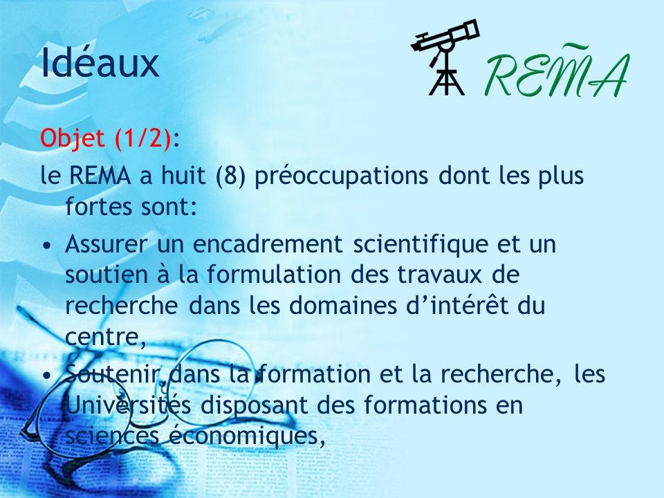 Idéaux Objet (1/2): le REMA a huit (8) préoccupations dont les plus fortes sont: Assurer un encadrement scientifique et un soutien à la formulation des travaux de recherche dans les domaines dintérêt du centre, Soutenir dans la formation et la recherche, les Universités disposant des formations en sciences économiques,