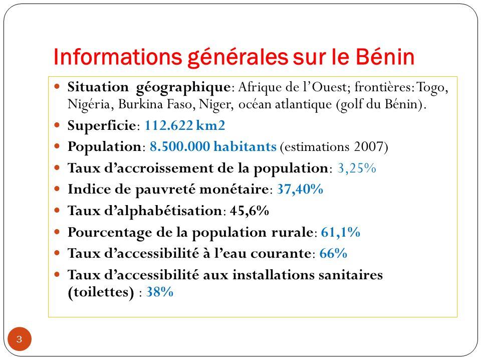 Informations générales sur le Bénin 3 Situation géographique: Afrique de lOuest; frontières: Togo, Nigéria, Burkina Faso, Niger, océan atlantique (gol