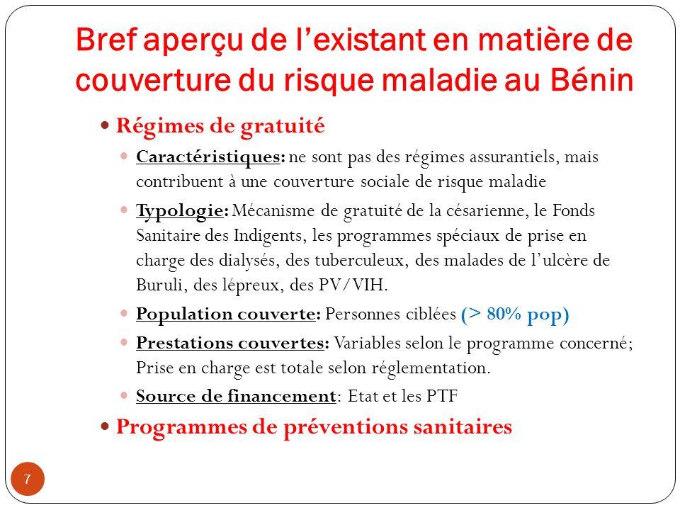 Bref aperçu de lexistant en matière de couverture du risque maladie au Bénin 7 Régimes de gratuité Caractéristiques: ne sont pas des régimes assuranti