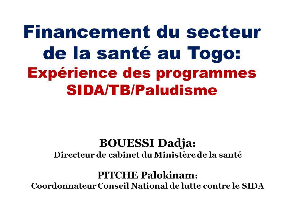 Financement du secteur de la santé au Togo: Expérience des programmes SIDA/TB/Paludisme BOUESSI Dadja : Directeur de cabinet du Ministère de la santé