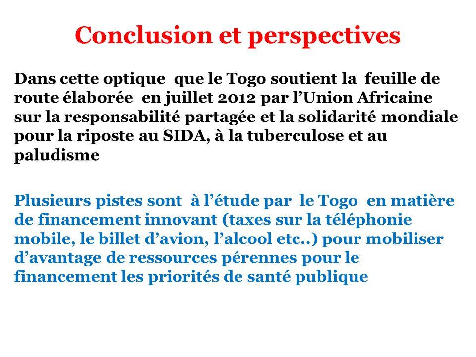 Conclusion et perspectives Dans cette optique que le Togo soutient la feuille de route élaborée en juillet 2012 par lUnion Africaine sur la responsabi