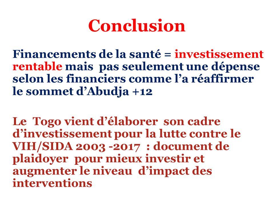 Conclusion Financements de la santé = investissement rentable mais pas seulement une dépense selon les financiers comme la réaffirmer le sommet dAbudj