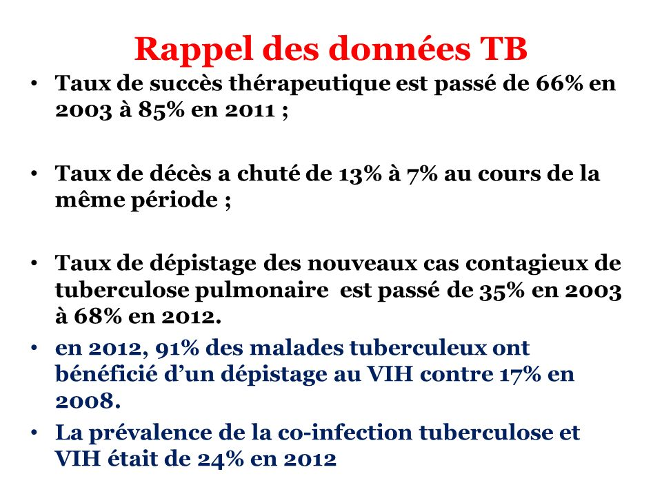Rappel des données TB Taux de succès thérapeutique est passé de 66% en 2003 à 85% en 2011 ; Taux de décès a chuté de 13% à 7% au cours de la même péri