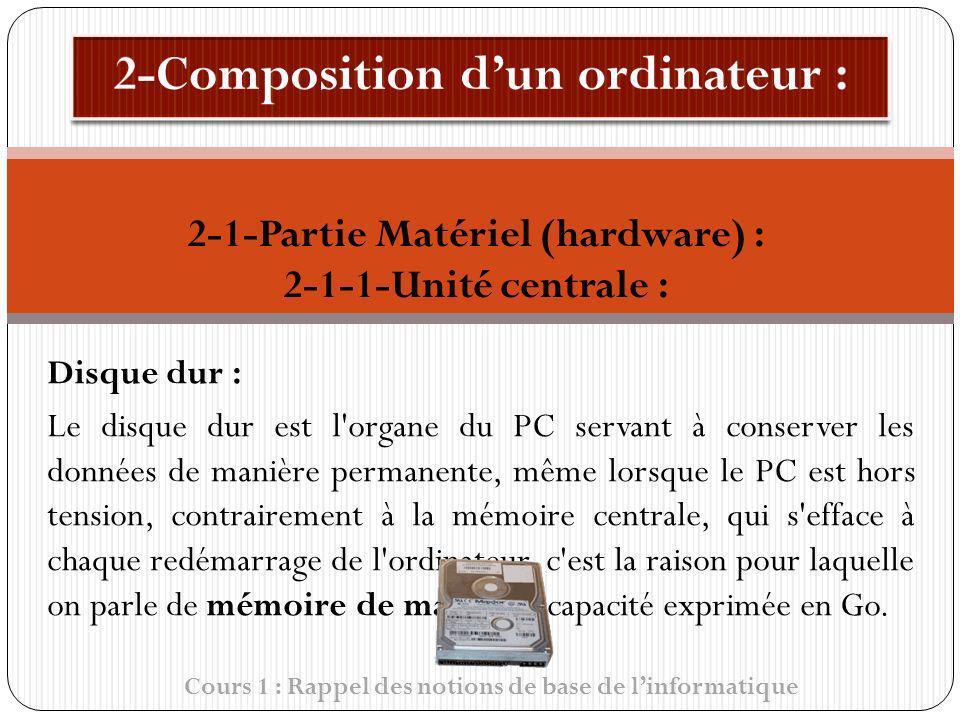 Cours 1 : Rappel des notions de base de linformatique Disque dur : Le disque dur est l'organe du PC servant à conserver les données de manière permane