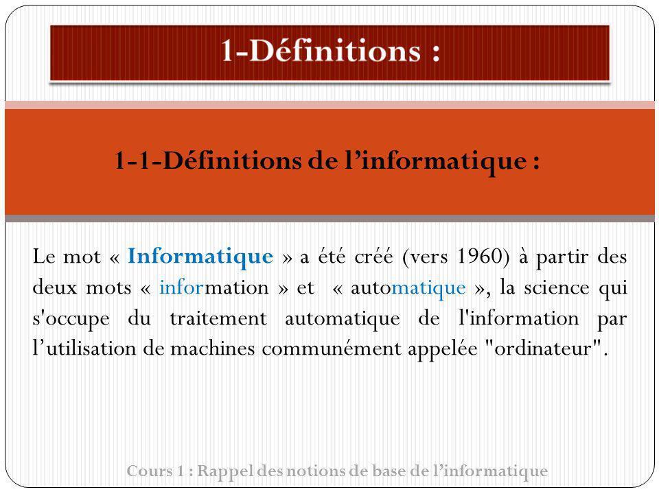 1-1-Définitions de linformatique : Cours 1 : Rappel des notions de base de linformatique Le mot « Informatique » a été créé (vers 1960) à partir des d
