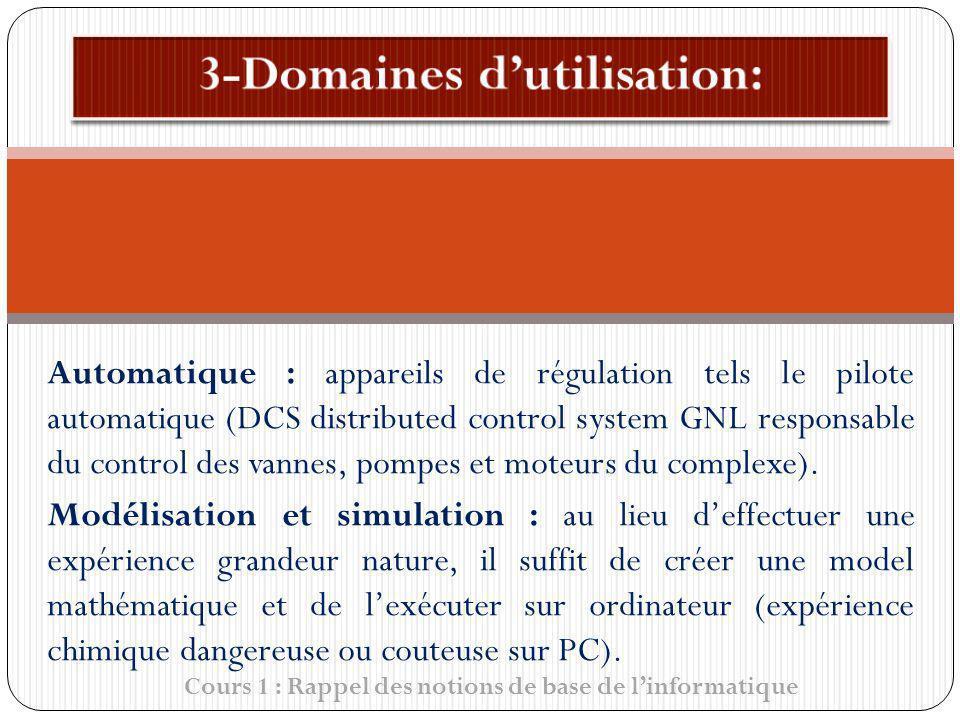 Cours 1 : Rappel des notions de base de linformatique Automatique : appareils de régulation tels le pilote automatique (DCS distributed control system