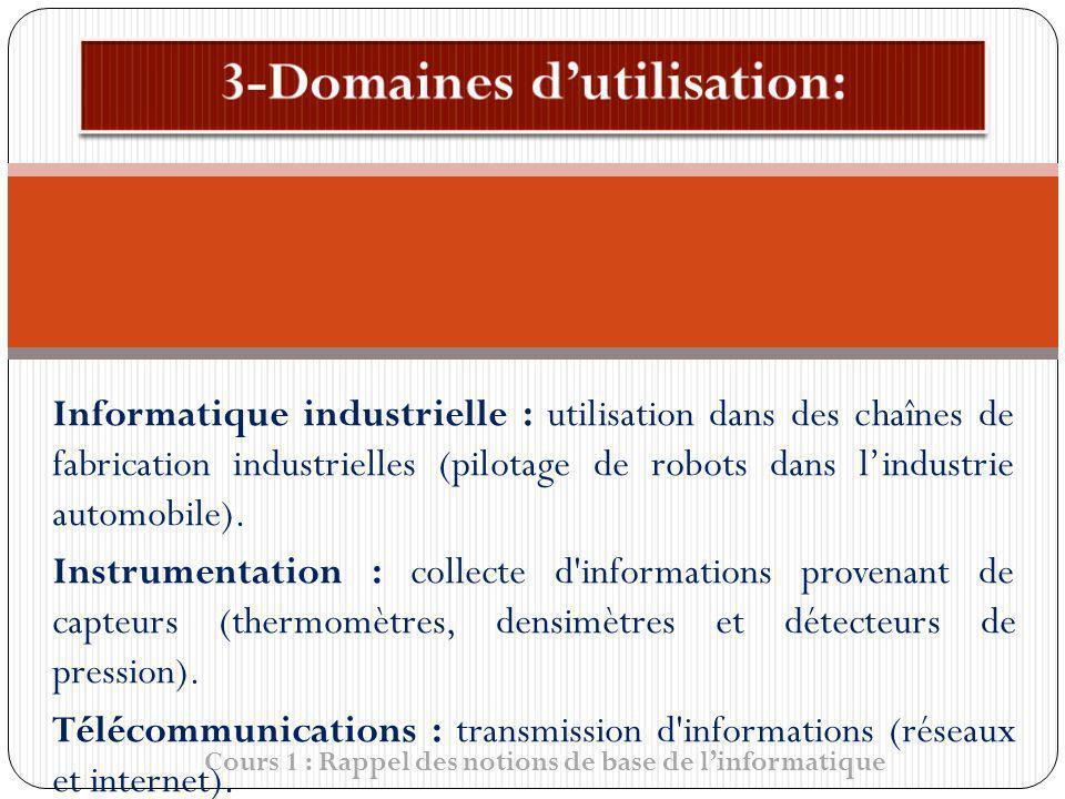 Cours 1 : Rappel des notions de base de linformatique Informatique industrielle : utilisation dans des chaînes de fabrication industrielles (pilotage