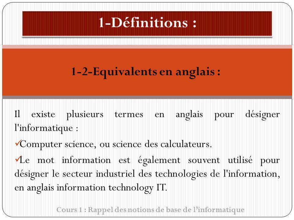 Cours 1 : Rappel des notions de base de linformatique Il existe plusieurs termes en anglais pour désigner l'informatique : Computer science, ou scienc