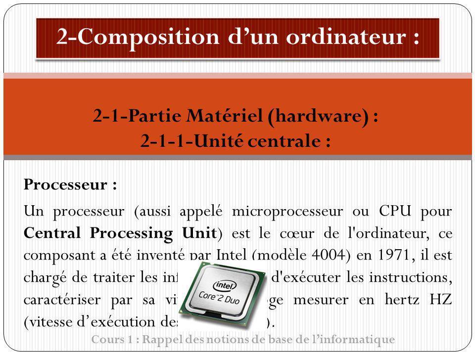 Cours 1 : Rappel des notions de base de linformatique Processeur : Un processeur (aussi appelé microprocesseur ou CPU pour Central Processing Unit) es