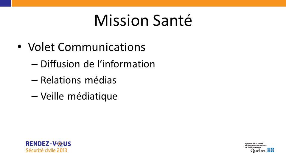Mission Santé Volet Communications – Diffusion de linformation – Relations médias – Veille médiatique