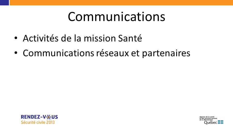 Communications Activités de la mission Santé Communications réseaux et partenaires