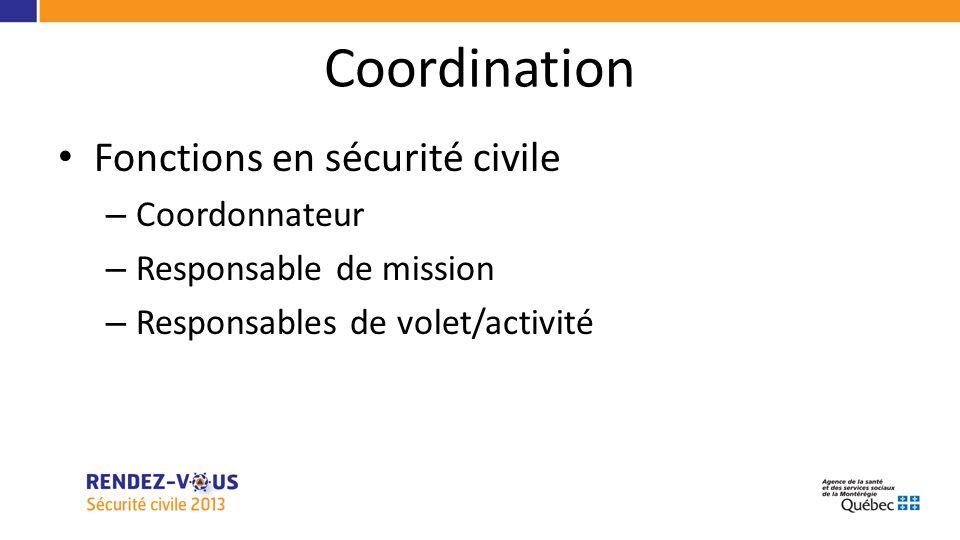 Coordination Fonctions en sécurité civile – Coordonnateur – Responsable de mission – Responsables de volet/activité