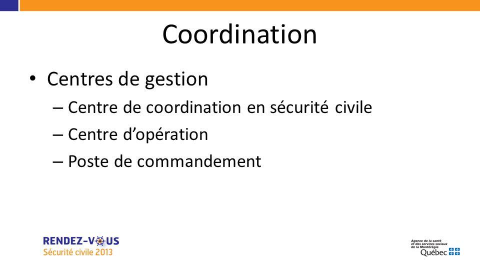 Coordination Centres de gestion – Centre de coordination en sécurité civile – Centre dopération – Poste de commandement