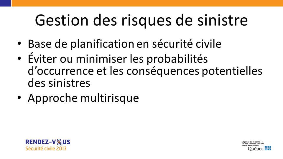 Gestion des risques de sinistre Base de planification en sécurité civile Éviter ou minimiser les probabilités doccurrence et les conséquences potentielles des sinistres Approche multirisque
