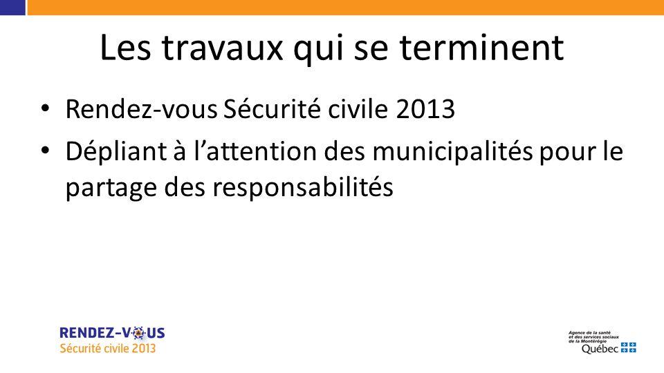 Les travaux qui se terminent Rendez-vous Sécurité civile 2013 Dépliant à lattention des municipalités pour le partage des responsabilités
