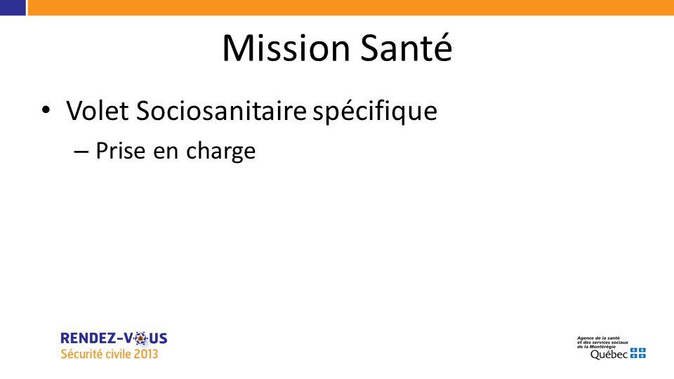 Mission Santé Volet Sociosanitaire spécifique – Prise en charge
