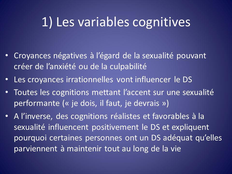 1) Les variables cognitives Croyances négatives à légard de la sexualité pouvant créer de lanxiété ou de la culpabilité Les croyances irrationnelles v