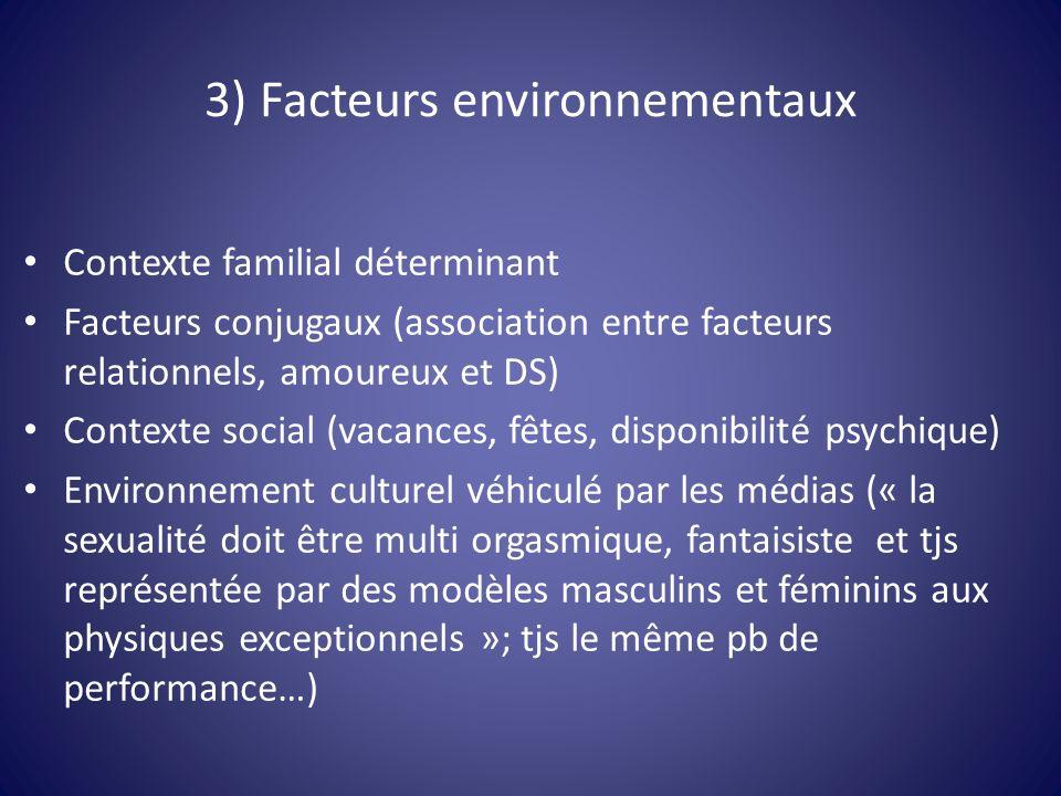 3) Facteurs environnementaux Contexte familial déterminant Facteurs conjugaux (association entre facteurs relationnels, amoureux et DS) Contexte socia