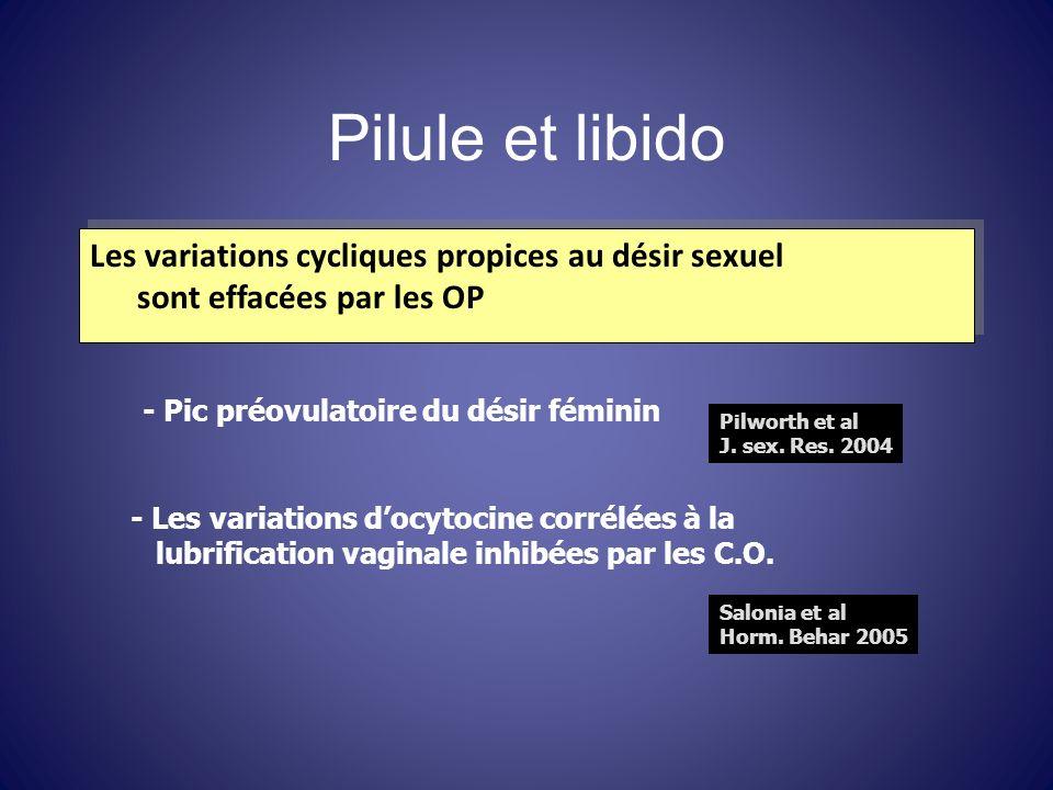 Pilule et libido Les variations cycliques propices au désir sexuel sont effacées par les OP Les variations cycliques propices au désir sexuel sont eff