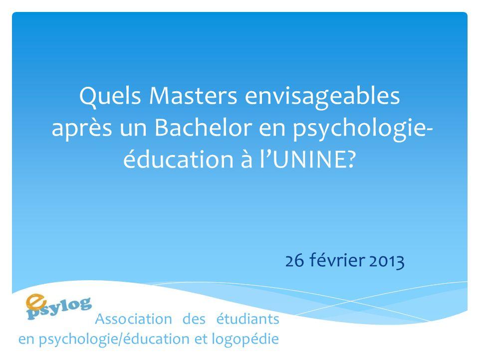 Quels Masters envisageables après un Bachelor en psychologie- éducation à lUNINE.