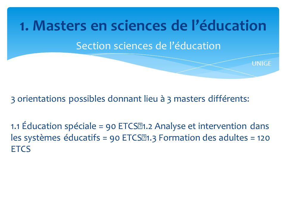 3 orientations possibles donnant lieu à 3 masters différents: 1.1 Éducation spéciale = 90 ETCS 1.2 Analyse et intervention dans les systèmes éducatifs = 90 ETCS 1.3 Formation des adultes = 120 ETCS 1.
