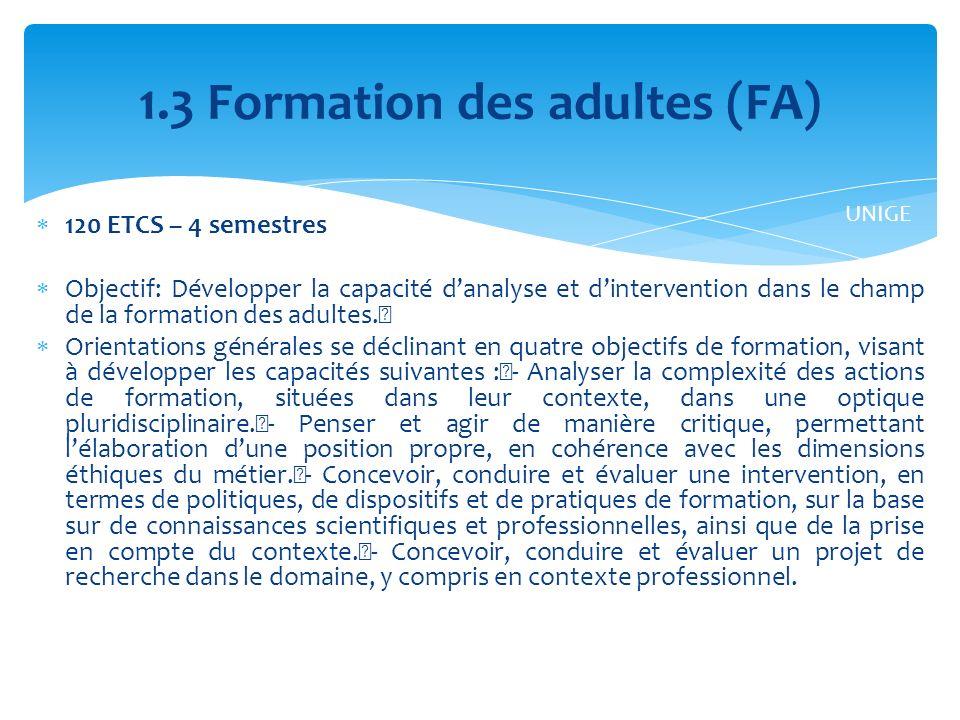 120 ETCS – 4 semestres Objectif: Développer la capacité danalyse et dintervention dans le champ de la formation des adultes.