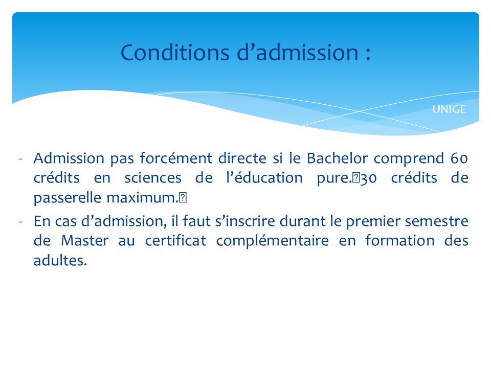 -Admission pas forcément directe si le Bachelor comprend 60 crédits en sciences de léducation pure.